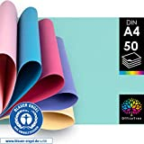 OfficeTree Tonkarton Pastell A4 - Tonpapier 50 Blatt Pastellfarben 300g/m² - 10...