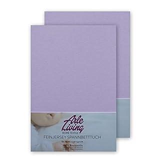 Doppelpack hochwertige Kinder Baby Jersey Spannbettlaken Spannbetttuch 60x120-70x140 cm - 140 g/m² Arle-Living (2x lavendel/lavender/lavande)