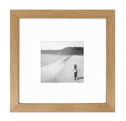 PF&A Holz Effekt Eiche Natur Quadratischer Bilderrahmen - Glasfenster - 20x20 cm mit Passepartout für 10x10 cm
