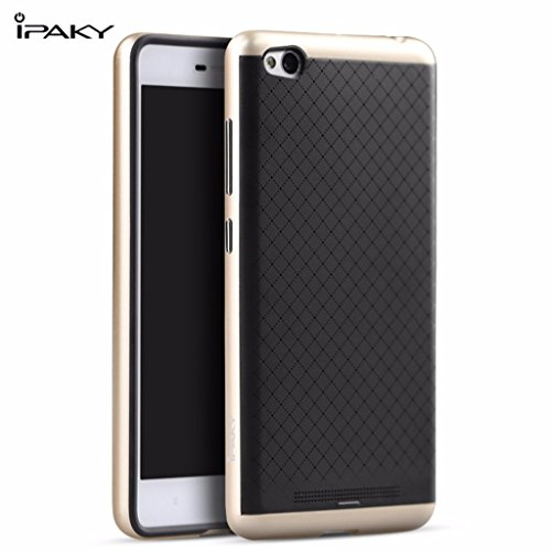 Ipaky Brand Quality Silicon Black Back + Pc Gold Frame Shockproof Back Cover For Xiaomi Redmi 3S(Without Finger Print Sensor Model)