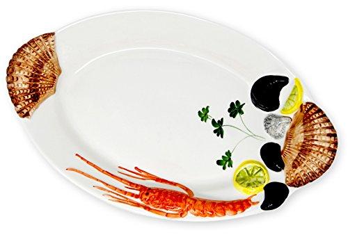 handgemachte ovale Servierplatte aus italienischer Keramik im Meeresfrüchtedesign, Servierteller ca. 44 x 27 cm