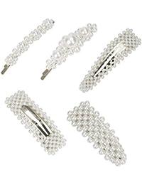 Horquillas de Perlas Pinzas Plata Clips de Pelo Elegante Clips de Flores Barrettes para Mujer Niña Chicas Dama para Boda Fiesta 5 Piezas