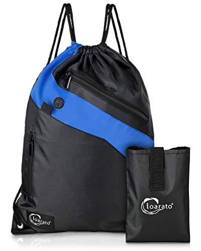 Loarato Sportbeutel – Premium Turnbeutel mit sicheren Staufächern und Reißverschluss – Kopfhörer-Eingang - wasserabweisend inkl. Transport-Beutel