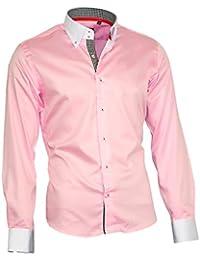 Louis Binder de Luxe Herren Hemd Shirt weißer Kragen weiße Manschetten  figurbetont modern fit 100% Baumwolle… f8fb9628bb