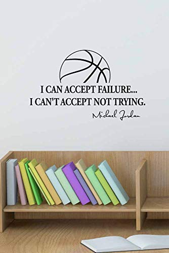 Version 3 I Can Accept Failure I Can'T Accept Not Trying Basketball Michael Jordan Inspired Vinyl Wall Decal Saying Quote Stencil Art Mural for Home Bedroom Decoration Wall Decal Room Art Gift (Jordan Stencil)