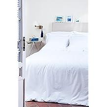 The White Basics - Cadaqués - Juego de Cama de Percal de 200 hilos de 100% Algodón peinado Cama doble de 135 cms (Set compuesto de una sábana encimera de 220 x 280 cms, una sábana bajera ajustable de 135 x 200 x 30 cms y dos fundas de almohada de 50x85 cms)