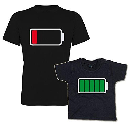 Batterie leer & Batterie voll Shirt Set Vater & Kind-Set (293.0269) (Vater XL/Kind 18-24 Monate) -