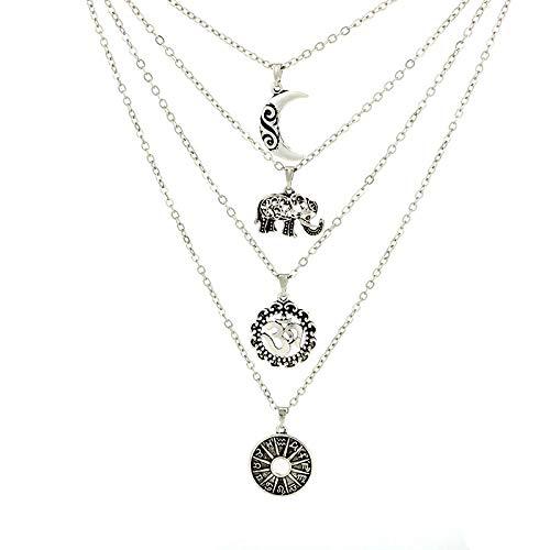 ZUXIANWANG Vintage de Moda Collar de Plata de la Luna constelación de...