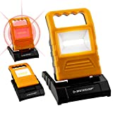 DUNLOP 2in1 LED Arbeitsleuchte und Warnleuchte | in 3 Stufen dimmbar + rot blinkend | 90° aufstellbar | ultraflach | 120 Lumen | Tragegriff