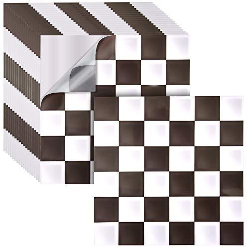 Irich 18 Pezzi 20x20 Piastrelle Adesive, Impermeabile Tagliabili PVC Adesivi per Pavimento Bagno Cucina Mattonelle Parete Fai da Te