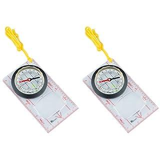 AceCamp 2 x floureszierender Kartenkompass mit Spiegel - Kompass für Navigation, Backpacking, Wandern Bei Nacht, mit Bodenplatte zur Orientierung, Doppelpack 3116