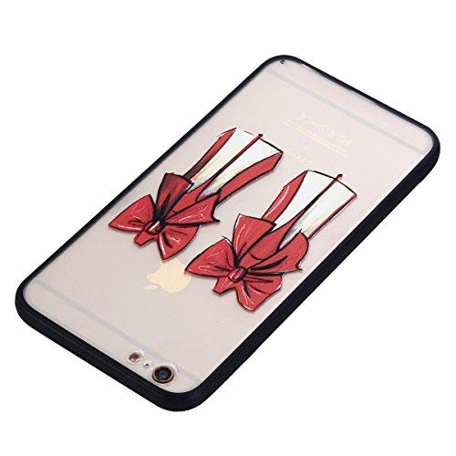 iPhone 5/5S Coque, Voguecase TPU avec Absorption de Choc, Etui Silicone Souple Transparent, Légère / Ajustement Parfait Coque Shell Housse Cover pour Apple iPhone 5 5G 5S SE (Grandes fleurs roses 01)+ Talons hauts rouges 03