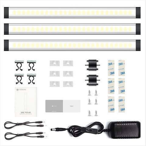 Unterbauleuchte küche LED leiste Dimmbar Schrankleuchte Lichtleiste TECKIN leuchte Schrankbeleuchtung SchrankLicht Küchenbeleuchtung 12W Kabinett Kleiderschrank Waschraum(3Pack)