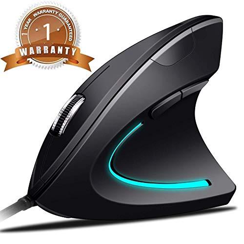 BeWishes Mouse Verticale Ergonomico Mouse Ottico USB ad Alta precisione con Cavo Ottico, 4 dpi Regolabile con Colore respirazione Luce Mouse 5 Pulsanti per PC/Laptop/Mac (Gray)
