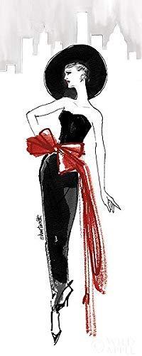 Rahmen-Kunst Keilrahmen-Bild - Anne Tavoletti: Fifties Fashion IV Red Scarf Leinwandbild Mode Frau Kleid mondän Anne-kleid
