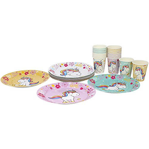 'com de Four Party Vajilla Set 'Unicorn con motivos Unicornio, platos y vasos de papel para cumpleaños infantiles y otras fiestas