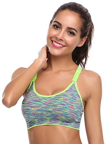 Aibrou Damen Sport BH Starker Halt Bustier Push Up Bra Top für Yoga Fitness Training Grün M
