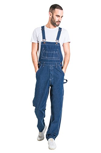 G8 One Mens Relaxed Fit Denim Dungarees - Stonewash Value Overalls Cheap Dungarees MENSVALUESW-36W