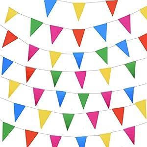 JZK 10 Stränge Mehrfarbig Wimpelkette 80m Dreieck Wimpel Stoff Banner, Drinnen und draußen Dekoration für Schule Hochzeit Geburtstag Babyparty Weihnachten Kinder Party