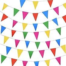 JZK 80 metros bunting partido colores triángulo banner bandera cuerda colgando decoración para boda cumpleaños celebracion