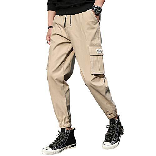 SZJY Frühling und Herbst Herrenhosen Baumwolle Freizeithosen Urlaub Größe neun Hosen Mode Tasche einfarbig Hose,Brown-XXXXL