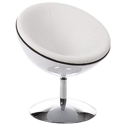MK Fauteuil Design GAROE en Simili Cuir (Blanc)