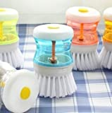 SHOPEE Branded 3 Pcs Cleaning Brush with Soap Dispenser for Kitchen, Sink, Dish Washer (Multicolor)