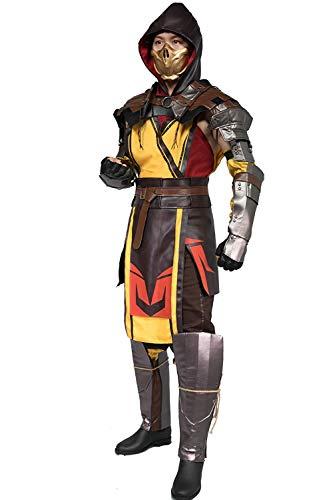 Chiefstore Scorpion Kostüm Spiel Mortal Kombat 11 Cosplay Outfit mit Zubehör für Erwachsene Herren Halloween Fancy Dress Kleidung (XL)