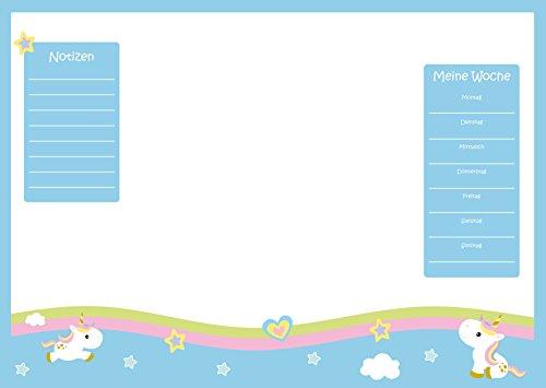 Schreibtischunterlage Einhorn aus Papier zum Abreißen, DIN A2 mit süßem Unicorn-Motiv | 25 Blatt Schreibunterlage (60 x 42 cm) für Kinder, Mädchen & Erwachsene mit Wochenplaner | Tagesplan | To-Do-Liste | Notizfeld