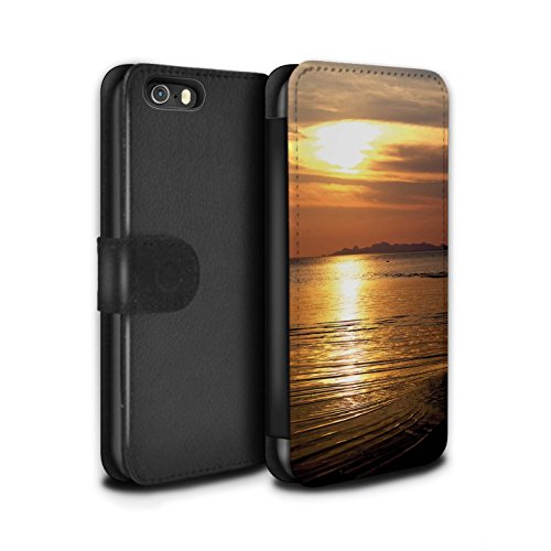 Stuff4 Coque/Etui/Housse Cuir PU Case/Cover pour Apple iPhone 5/5S / mer Design/Coucher du Soleil Collection