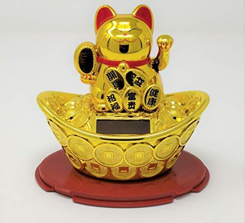 Statuetta decorativa a forma di gatto cinese portafortuna ad energia solare, collezione JRose