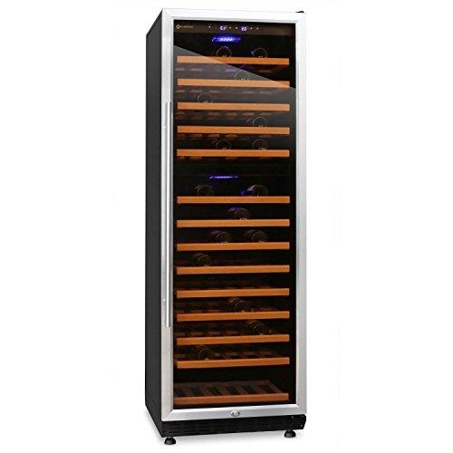 Klarstein Gran Reserva 180 Weinkühlschrank Getränkekühlschrank (für 180 Flaschen, 13 Holz-Regaleinschübe, Glastür, LCD-Display) schwarz-silber