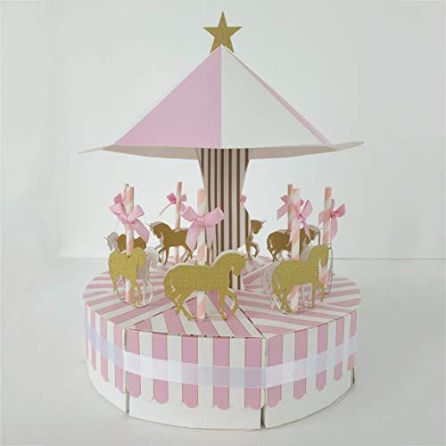 Karussell Süßigkeiten-Boxen Set Hochzeit Gastgeschenk Geschenk-Box Baby Dusche Party Deko für Zuhause Dekoration - Carousel Pink ()