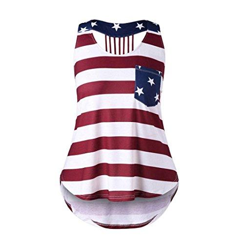 Ears Damen Tops Sommer Kurzarm-lose Damen beiläufige PulloverTank Top Sommertop Frauen Kleidung T-Shirt Casual Distressed American Flag Ärmelloses Shirt Tank Tops BluseT-Shirt Tops (L2, Mehrfarbig)