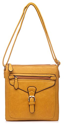 Big Handbag Shop - Borsa a tracolla donna (Cammello chiaro)