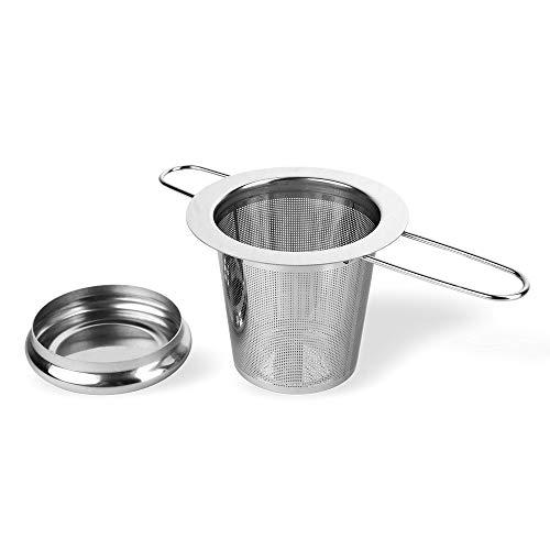 Schramm® Edelstahl Teesieb mit Deckel Abtropfschale Teefilter ideal für losen Tee passend für Tasse und Kanne mit langem Griff faltbar