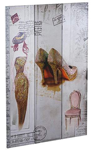 Foto-Paravent Vintage, Raumteiler Trennwand, Glitzer Retro Fashion ~ 180x120cm