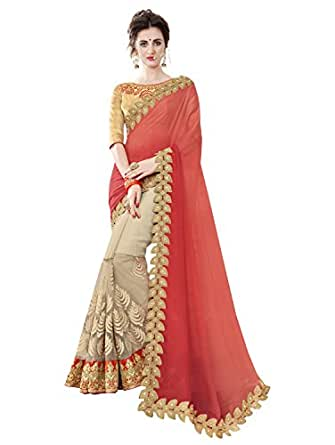 Pisara Women Chiffon Saree With Blouse Piece,Red sari