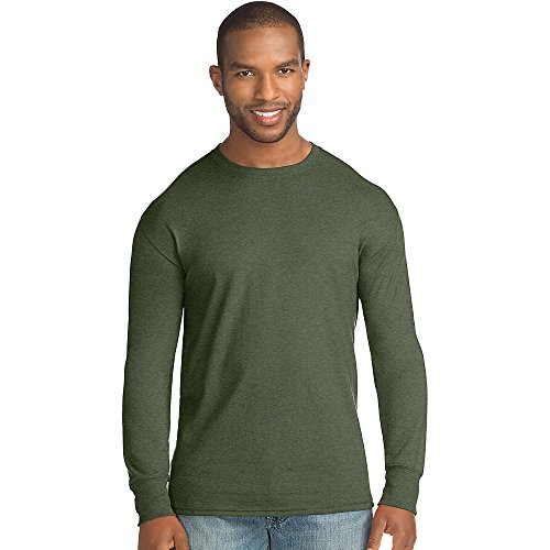 Hanes Mens X-Temp w/Fresh IQ Crewneck Long Sleeve Fashion T-Shirt