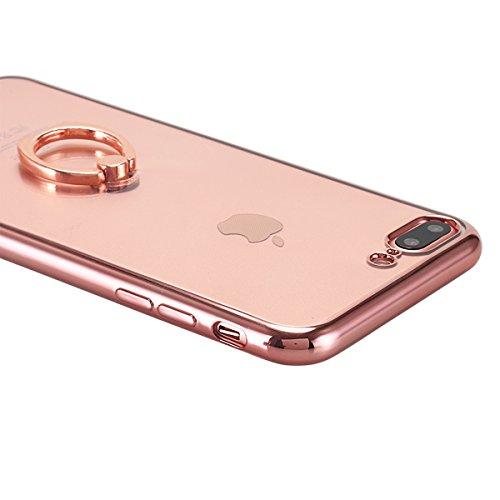 iPhone 7Plus, iPhone 7Case, lontect TPU con anello Kickstand per Apple iPhone 7Plus Cover rigida supporto custodia per cellulare, con aletta Clear / Rose Gold