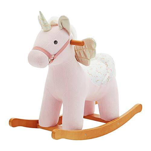 labebe Cavallo a Dondolo Unicorno con Ali, Cavallo a Dondolo in Legno per Bambini 1,2,3 Anni, Regalo per Bambini
