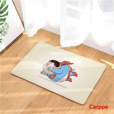KOOCO Cartoon-Stil Nette Superheld Print Teppiche Anti-Rutsch-Fußmatte Outdoor Teppiche Kreative Haustürmatten, Rot, 400 mm x 600 mm