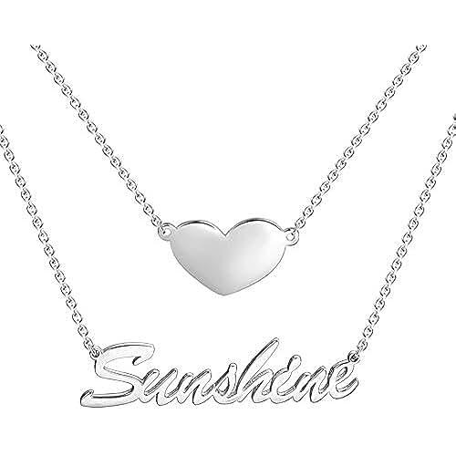 ofertas para el dia de la madre SOUFEEL Collar con Nombre de Corazón Personalizados Plata de Ley 925 Regalo para el Día de Madre Mujer Amistad Amor Parejas Hecha a Mano Libre de Alérgenos