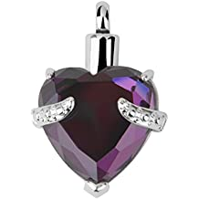 Cremación Corazón Cenizas Joyería Colgante De Collar De Recuerdo Urna De Cristal Violeta