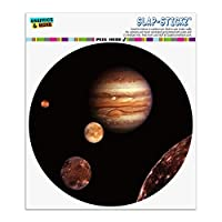 GRAPHICS & MORE Planet Jupiter With Io Europa Ganymede and Callisto Moons Space Automotive Car Window Locker Circle Bumper Sticker