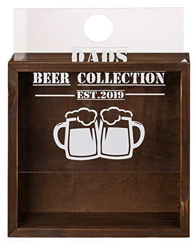 MC Trend Kronkorkensammler Dads Beer Collection Kronkorken Bier Flaschenverschluß Holz Box Stammtisch Party Geschenk-Idee -