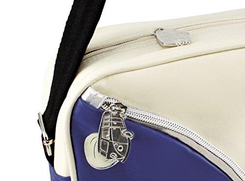 VW Collection by BRISA Schultertasche Umhängetasche mit VW Bulli T1 Motiv - Schwarz/Rot Cremeweiß/Blau
