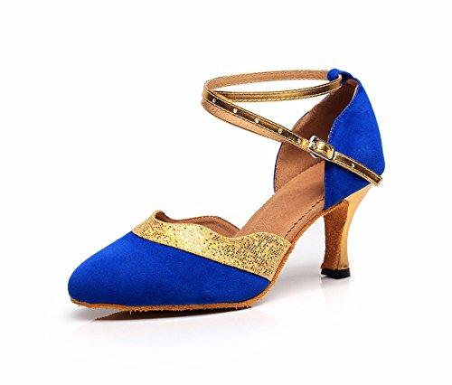 JINGXINSTOREDonna Scarpe da ballo salsa latino Satin sandali tacchi Professional Indoor Blue