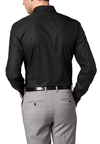 Eterna Long Sleeve Shirt Slim Fit Poplin Uni Nero