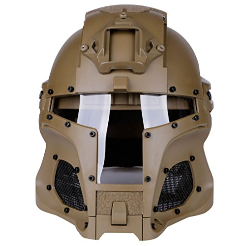 YGFS Vintage Medieval Iron Warrior Full Coverage Cs Tactical Outdoor Modular Helm with Maske Schutz Jagdspiel Paintball Shooting Military Role Playing